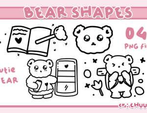 超可爱小熊线条图形PS笔刷(PNG图片格式)