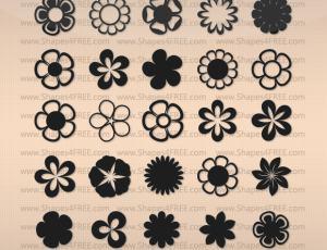 自定义创造鲜花花朵图案、小红花花纹PS素材(csh格式,自定义形状)