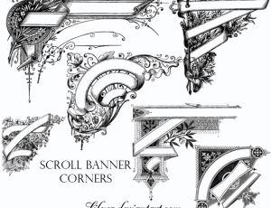 精美手绘欧式装饰边角图案PS笔刷素材