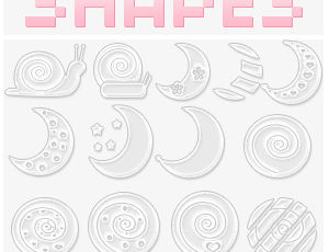 月亮、月球、蜗牛符号图案PS笔刷下载(csh格式,自定义形状)