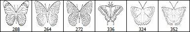 手绘线框式蝴蝶图案PS笔刷